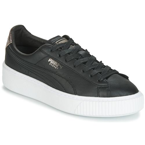 Sko Dame Lave sneakers Puma WN SUEDE PLATFM OPULENT.BL Sort