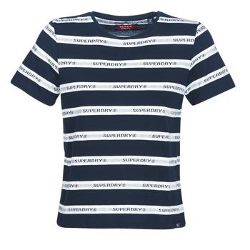 textil Dame T-shirts m. korte ærmer Superdry COTE STRIPE TEXT TEE Marineblå