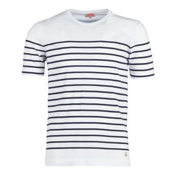 textil Herre T-shirts m. korte ærmer Armor Lux YAYALOUT Hvid / Marineblå