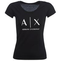 textil Dame T-shirts m. korte ærmer Armani Exchange HELBATANTE Sort