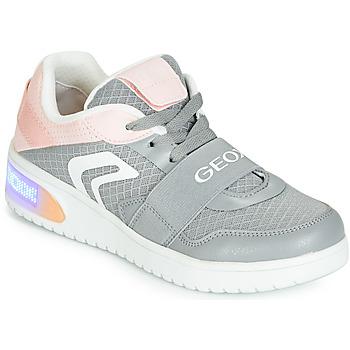 Sko Pige Høje sneakers Geox J XLED GIRL Grå / Pink / Led