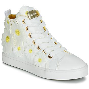 Sko Pige Høje sneakers Geox JR CIAK GIRL Hvid / Blomstret / Gul