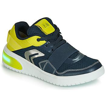 Sko Dreng Lave sneakers Geox J XLED BOY Blå / Gul / Led