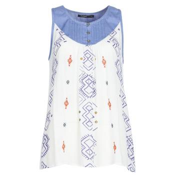 textil Dame Toppe / T-shirts uden ærmer Desigual MEKANE Hvid / Blå