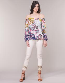 textil Dame Lige jeans Desigual SARI WHITE Marineblå