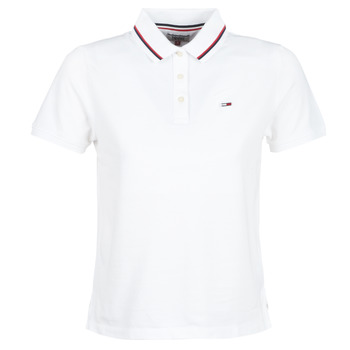 textil Dame Polo-t-shirts m. korte ærmer Tommy Jeans TJW TOMMY CLASSICS POLO Hvid