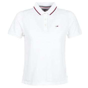 textil Dame Polo-t-shirts m. korte ærmer Tommy Jeans TJW TOMMY CLASSICS POLO Hvid