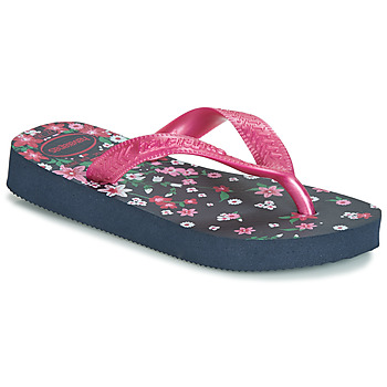 Sko Pige Flip flops Havaianas KIDS FLORES Marineblå / Pink