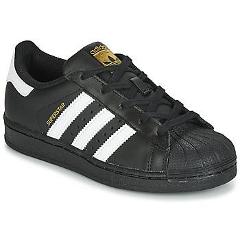 Sko Børn Lave sneakers adidas Originals SUPERSTAR C Sort / Hvid