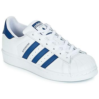 Sko Børn Lave sneakers adidas Originals SUPERSTAR J Hvid / Blå