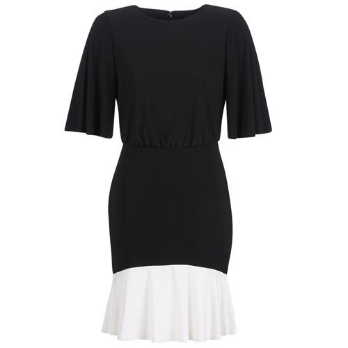 textil Dame Korte kjoler Lauren Ralph Lauren ELBOW SLEEVE DAY DRESS Sort / Hvid