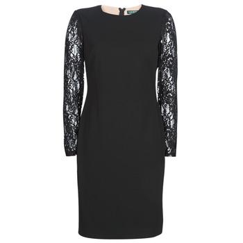 textil Dame Korte kjoler Lauren Ralph Lauren LACE PANEL JERSEY DRESS Sort
