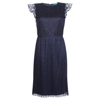 textil Dame Korte kjoler Lauren Ralph Lauren LACE CAP SLEEVE DRESS Marineblå