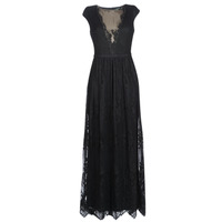 textil Dame Lange kjoler Lauren Ralph Lauren CAP SLEEVE LACE EVENING DRESS Sort
