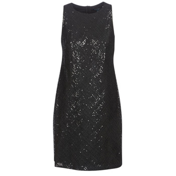 textil Dame Korte kjoler Lauren Ralph Lauren SEQUINED SLEEVELESS DRESS Sort