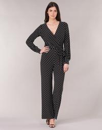 textil Dame Buksedragter / Overalls Lauren Ralph Lauren POLKA DOT WIDE LEG JUMPSUIT Sort / Hvid