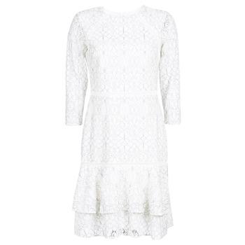 textil Dame Korte kjoler Lauren Ralph Lauren LONG SLEEVE-LACE DAY DRESS Hvid / Sort