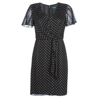 textil Dame Korte kjoler Lauren Ralph Lauren POLKA DOT-SHORT SLEEVE-DAY DRESS Sort