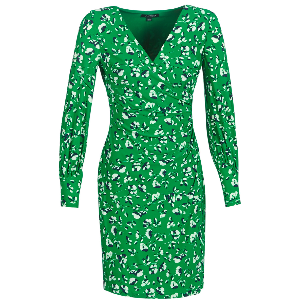 Korte kjoler Lauren Ralph Lauren  FLORAL PRINT-LONG SLEEVE-JERSEY DAY DRESS