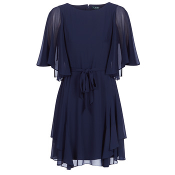 textil Dame Korte kjoler Lauren Ralph Lauren NAVY-3/4 SLEEVE-DAY DRESS Marineblå