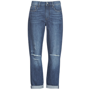 textil Dame Jeans - boyfriend G-Star Raw 3302 SADDLE MID BOYFRIEND Blå / Medium / Ældet / Ripped