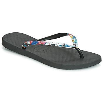 Sko Dame Flip flops Havaianas SLIM STRAPPED Sort