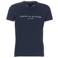 textil Herre T-shirts m. korte ærmer Tommy Hilfiger TOMMY FLAG HILFIGER TEE Marineblå