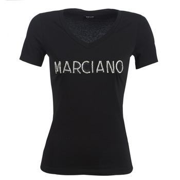 textil Dame T-shirts m. korte ærmer Marciano LOGO PATCH CRYSTAL Sort