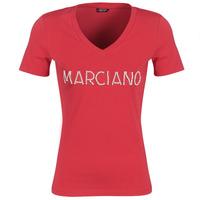 textil Dame T-shirts m. korte ærmer Marciano LOGO PATCH CRYSTAL Rød