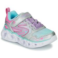 Sko Pige Lave sneakers Skechers HEART LIGHTS Sølv / Pink / Led