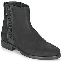 Sko Dame Støvler Tommy Jeans TOMMY JEANS ZIP FLAT BOOT Sort