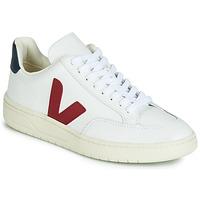Sko Lave sneakers Veja V-12 LEATHER Hvid / Blå / Rød