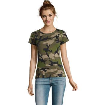 textil Dame T-shirts m. korte ærmer Sols CAMOUFLAGE DESIGN WOMEN Gris