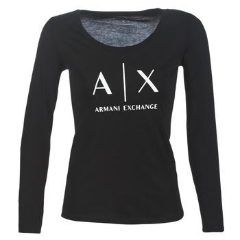 textil Dame Langærmede T-shirts Armani Exchange 8NYTDG-YJ16Z-1200 Sort