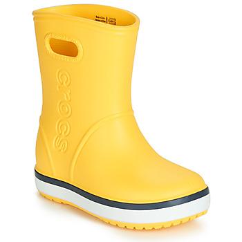 Sko Børn Gummistøvler Crocs CROCBAND RAIN BOOT K Gul / Marineblå