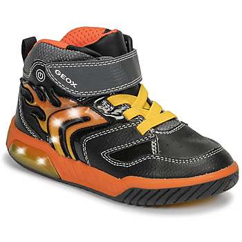Sko Dreng Høje sneakers Geox J INEK BOY Sort / Orange
