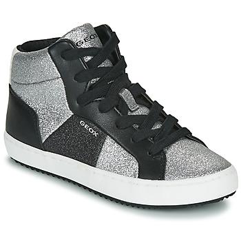 Sko Pige Høje sneakers Geox J KALISPERA GIRL Sort / Sølv