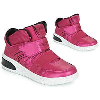 Sko Pige Høje sneakers Geox J XLED GIRL Pink /  fuchsia / Sort / Led