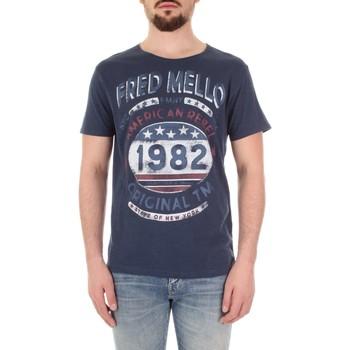 textil Herre T-shirts m. korte ærmer Fred Mello FM19S09TG Blu