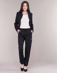 textil Dame Cargo bukser G-Star Raw FELDSPAR HIGH STRAIGHT CARGO Marineblå