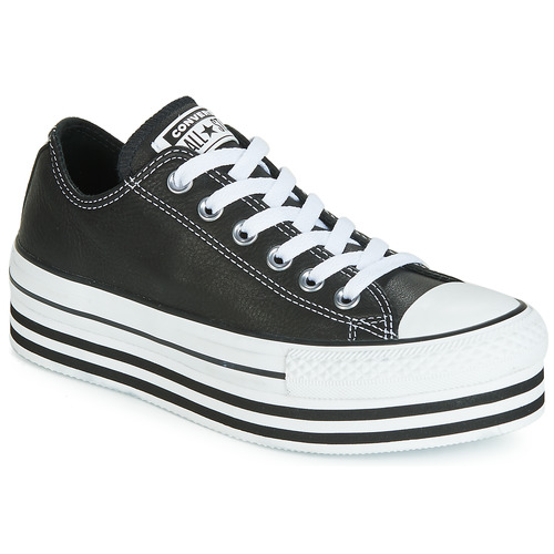 Sko Dame Lave sneakers Converse CHUCK TAYLOR ALL STAR LAYER BOTTOM LEATHER OX Sort / Hvid / Sort