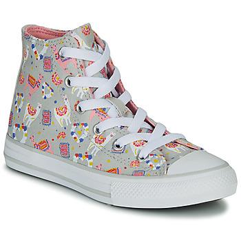 Sko Pige Høje sneakers Converse CHUCK TAYLOR ALL STAR LLAMA HI Grå / Flerfarvet