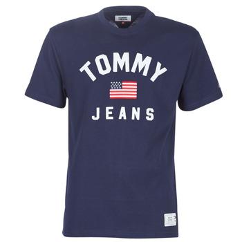 textil Herre T-shirts m. korte ærmer Tommy Jeans TJM USA FLAG TEE Marineblå