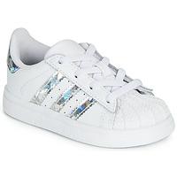 Sko Pige Lave sneakers adidas Originals SUPERSTAR EL I Hvid / Sølv