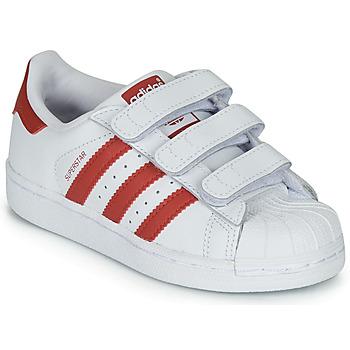 Sko Børn Lave sneakers adidas Originals SUPERSTAR CF C Hvid / Rød