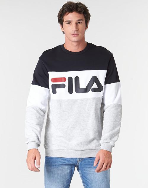 textil Herre Sweatshirts Fila STRAIGHT BLOCKED CREW Grå / Sort