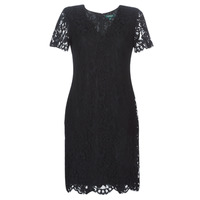 textil Dame Korte kjoler Lauren Ralph Lauren SCALLOPED LACE DRESS Sort