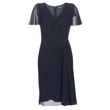 textil Dame Lange kjoler Lauren Ralph Lauren CUTLER CAP SLEEVE DAY DRESS Marineblå