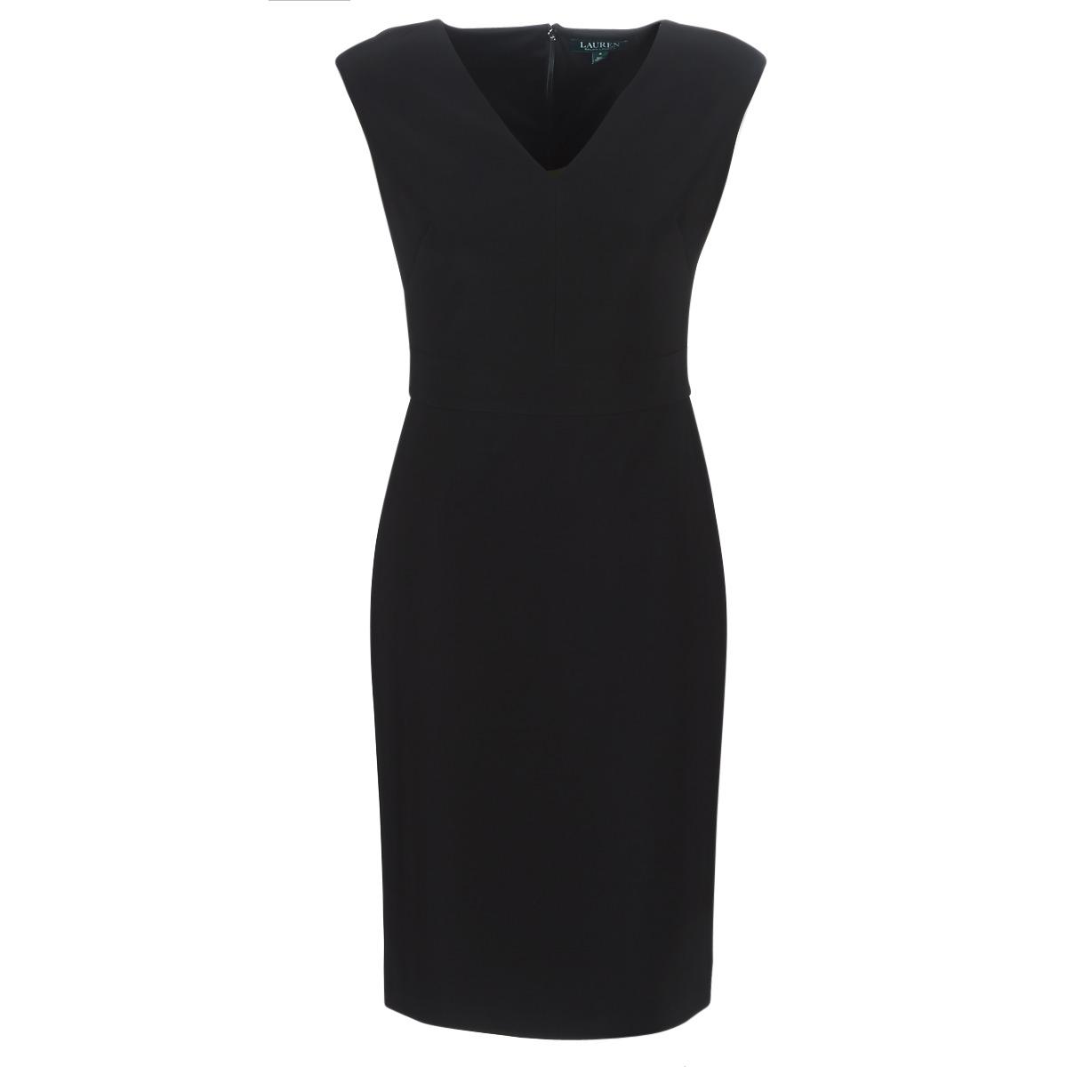 Lange kjoler Lauren Ralph Lauren  BLACK CAP SLEEVE DAY DRESS