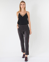 textil Dame Lærredsbukser Maison Scotch TAPERED LUREX PANTS WITH VELVET SIDE PANEL Grå